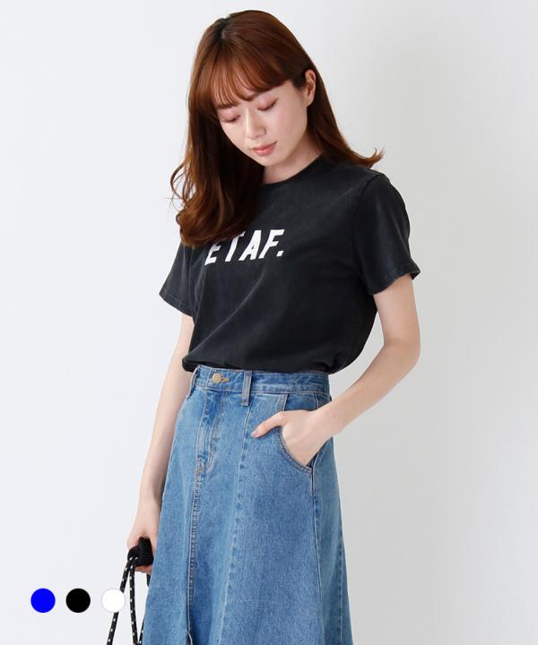 ウォッシュ加工ロゴTシャツ