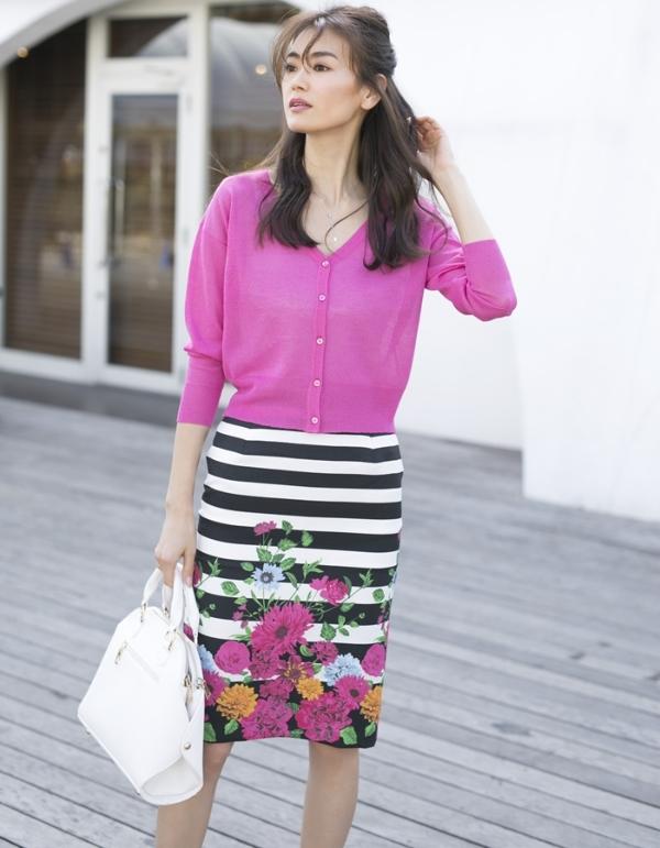 花柄ボーダースカート