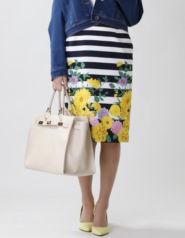 【カタログ掲載】花柄ボーダースカート