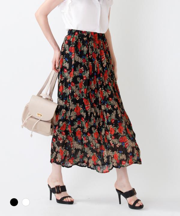 ランダムプリーツ花柄ロングスカート