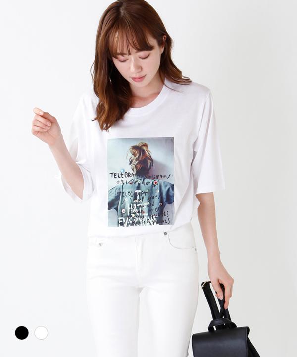 ビジュー付き女の子Tシャツ