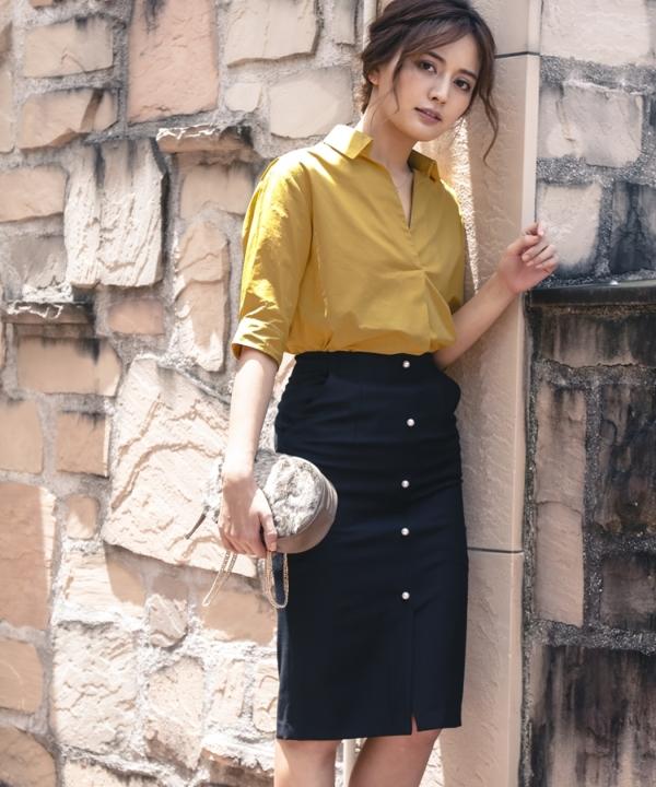 【カタログ掲載】フロントパールタイトスカート